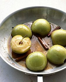 Baked Cinnamon Apples, Using both ground cinnamon and cinnamon sticks intensifies the flavor. Serve with vanilla ice cream, if desired.