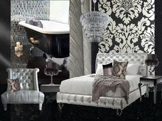 A sexy bedroom bathroom suite in blacks, silvers and whites #interiordesign