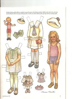 (⑅ ॣ•͈ᴗ•͈ ॣ)♡                                                             ✄Sew Beautiful paper doll Caroline 1, via Flickr.