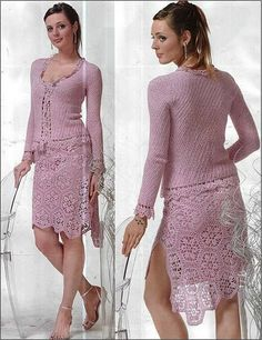 MADE TO ORDER Lace skirt and top crochet handmade , custom made dress - Skirt and Top