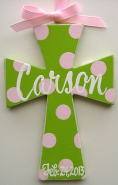Hand painted personalized 6 childs cross by BellaLouart on Etsy, Project Ideas, Craft Ideas, Projects, Decorative Crosses, Godchild Gift, Childs Bedroom, Crosses Decor, Religious Education, Big Girl Rooms