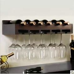 Wall Mounted Wine Rack Wood Creative Fashion Bar For Decorative Hanging