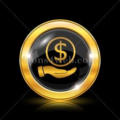 Money in hand golden icon. Money in hand golden button. Royalty free icon for web design available in various sizes. High quality internet button. Graphic Projects, Design Projects, Web Design Icon, Find Icons, Website Icons, Royalty Free Icons, Social Media Pages, More Icon, Internet