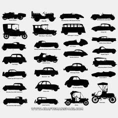 Scroll viu silhuetas de carros antigos