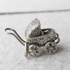 Rare 1940's Vintage Sterling Silver Baby Carriage Charm, Moveable with BABY!