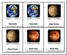 Free Solar System Concentration/Match Up Game from Nurturing the Tender Years