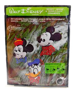 Walt Disney Mickey, Minnie, Donald Character Ornaments Felt Kit by Paragon No. 6293, Christmas Decorations, Embroidery, Sewing, New Unused by QueeniesCollectibles on Etsy