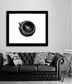 Cups and Feather in BW Photographic Art Print, Wall Art for Home decor, 12 Sizes Available from Prints to Mounted Canvas