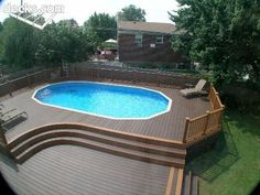 awesome above ground pools with decks. Building a deck around your aboveground pool changes the look and feel immensely. Above Ground Swimming Pools, Swimming Pools Backyard, Swimming Pool Designs, In Ground Pools, Semi Inground Pool Deck, Backyard Pool Landscaping, Backyard Pool Designs, Backyard Playground, Pool Deck Plans