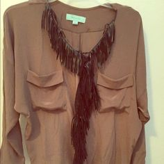 Brown silky blouse top size small Brown with faux leather trim Tops Blouses