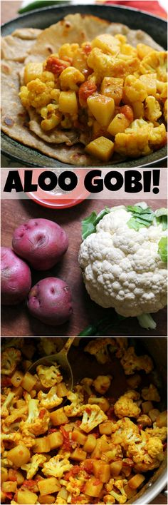 Aloo gobi is a richly spiced traditional Indian dish, made with a mixture of tomatoes, potatoes, and cauliflower.
