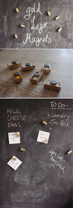 Cool DIY Lego Projects and Design | Gold Lego Magnets by DIY Ready at http://diyready.com/21-awesome-diy-lego-ideas/