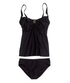 Supportive Two-Piece swimsuit, tankini for curvy apple body shape, #bikini #swimwear wear this black pretty tankini and make the most of your apple figure