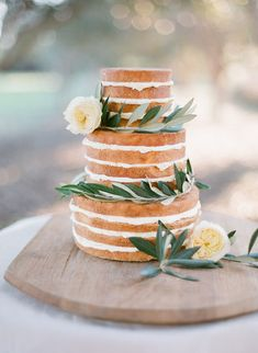 """I love a beautiful """"naked"""" cake...could do a smaller version of this for a dinner party!"""