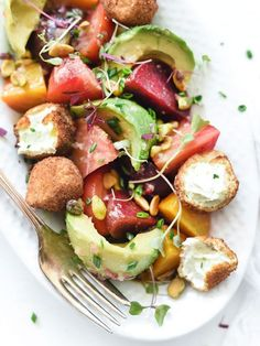 Beet, Avocado and Fried Goat Cheese Salad - foodiecrush