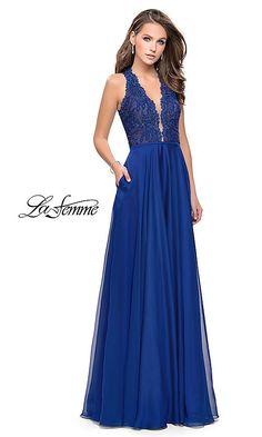 3826d1429fbd Image of v-neck La Femme prom dress with lace bodice. Style: LF