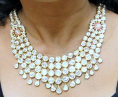 Antique 20 ct Gold Diamond necklace set kundan by TRIBALEXPORT, $38000.00