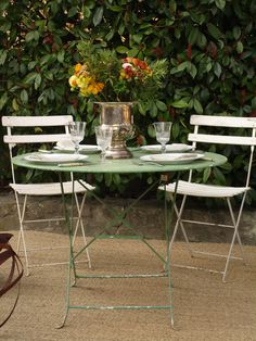 In 1950s France, during the Bistrot period, the table de bar was very popular. Suitable for the garden, this iron folding table with cross braced legs, will comfortably sit four people. Standing dimensions: 97cm diameter, 69cm high Folded dimensions: 111cm high, 10cm deep Sourced in Vaison La Romaine. Pricing includes standard air delivery to USA, Canada & Australia.