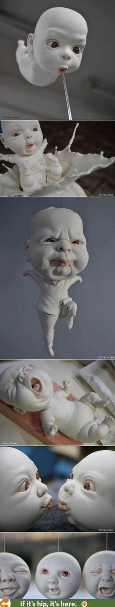 Wild, Weird and Wonderful Porcelain Sculptures by Johnson Tsang Sculptures Céramiques, Art Sculpture, Pottery Sculpture, Ceramic Sculptures, Johnson Tsang, Inspiration Artistique, Creepy Art, Weird Art, Hyperrealism