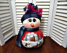 Handmade Primitive Christmas Winter  Sculpted Snowman Doll Gourd Gourd Crafts, Snowman Crafts, Primitive Christmas, Merry Christmas, Xmas, Halloween Gourds, Paper Clay Art, Light Bulb Crafts, Painted Gourds