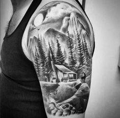 Esta cabana na floresta http://tatuagens247.blogspot.com/2016/08/montanha-de-tirar-o-folego-tatuagens.html