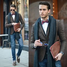 Tartan bow-tie, shawl collar cardigan. Basically everything about this outfit. Be really good for a wedding reception or date night