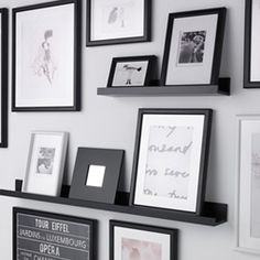 Mix of frames attached to wall and use of ledges (http://www.ikea.com/gb/en/campaigns/wonderfuleveryday.html?cid=em|gb|brand_launch_tvc|201604131648164120_4)