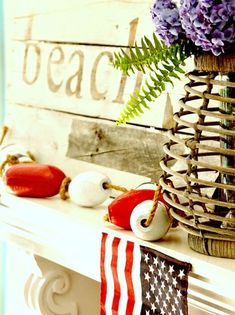 Patriotic Beach Mantel... Celebrating July 4th with Flag Decor, Red, White & Blue, plus some Coastal 4th of July Decor Sales: http://www.completely-coastal.com/2016/07/patriotic-beach-mantel-decor-ideas-4th.html