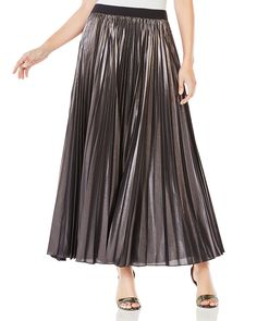 BCBGMAXAZRIA Dallin Metallic Pleated Maxi Skirt