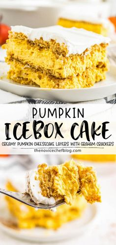 Pumpkin spice icebox cake is a fall-themed no-bake dessert recipe, made with graham crackers and creamy pumpkin cheesecake layers! This easy to make sweet treat is sure to impress family and friends on Thanksgiving. Save this pin!