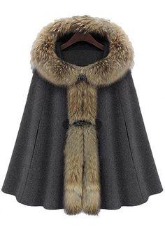 Dark Grey Fur Hooded Buckle Ruffles Cape Coat $86.00 AT vintagedancer.com