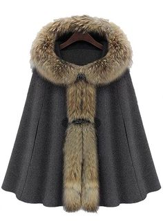 Dark Grey Fur Hooded Buckle Ruffles Cape Coat