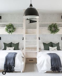 White Paint Colors, White Paints, Bunk Rooms, Bunk Beds, Bedrooms, Sherwin Williams Dover White, Kids Play Kitchen, Style Me Pretty Living, Black Shelves