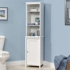 Sauder Caraway Linen Tower in Soft White Transitional Cabinet #Sauder