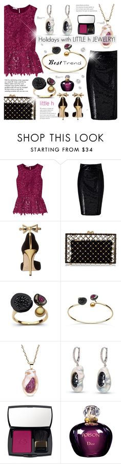 """Holidays with LITTLE h JEWELRY"" by cly88 ❤ liked on Polyvore featuring Oscar de la Renta, L'Wren Scott, Charlotte Olympia, Tiffany & Co., Lancôme, Christian Dior, pearljewelry and littlehjewelry"