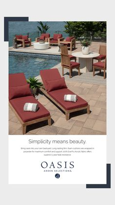 Wow! Look at how beautiful these red outdoor cushions are! Oasis Foam, Outdoor Furniture Sets, Outdoor Decor, Outdoor Cushions, How Beautiful, Patio Ideas, Sun Lounger, Outdoor Living, Water