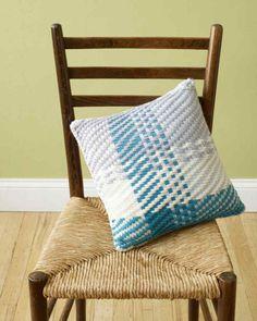 Martha Stewart Crafts Lion Brand® Yarn Merino Loom Woven Blue Note Pillow