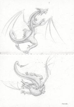 Potlood tekening van een draak, leren tekenen, Fantasy