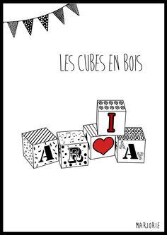 Illustration tableau chambre d enfant Cube en bois personnalisable