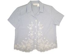 Alfred Dunner Cape May Short Sleeve Stripe Blouse Denim/White 8 Alfred Dunner. $27.99. Save 39%!