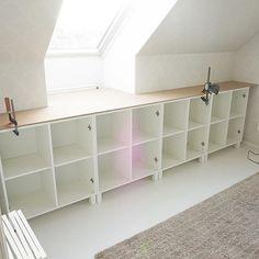 No photo description available. Sewing Room Storage, Attic Storage, Attic Apartment, Attic Rooms, Loft Room, Bedroom Loft, New Bedroom Design, Home Interior Design, Ikea
