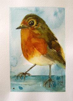 Robin Original Watercolor Painting Bird Art Print. $15.00, via Etsy.