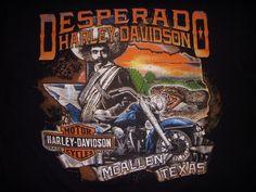 Men's Harley Davidson Motorcycles Desperado McAllen Texas Black T-shirt Large