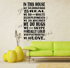 In This House Military LARGE Quote Wall Vinyl Decor Sticker U Pick Colors Army Navy Air Force Marines