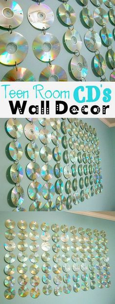 Teen Room CD Hanging. Using string and a couple of old coat hangers, you can string up your old CDs in a decorative way. Really cute, colorful and totally fun for a teen room decor!