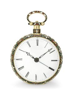Just & Son, London A FINE AND RARE YELLOW GOLD AND ENAMEL OPEN-FACED CENTRE SECONDS WATCH MADE FOR THE CHINESE MARKET NO 2999 CIRCA 1840 • cal. 20''' gilt duplex movement, finely chased and engraved with flowers and foliate patterns, jewels with chatons, standing barrel, three arm steel balance • engraved cuvette with floral design and stars • white enamel dial, Roman numerals, outer minute track • champlevé enamel over engraved decoration, polychrome enamel flowers on a black background •…