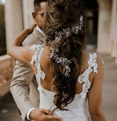 Wedding Hair Clips, Headpiece Wedding, Wedding Hair Pieces, Bridal Headpieces, Elegant Hairstyles, Wedding Hairstyles, Gorgeous Hairstyles, Bridal Hair Vine, Long Hair Styles