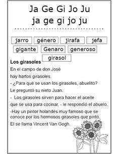 Estudio de las sílabas ja, ge, gi, jo, ju (Ficha Nº 28 Complementaria al Silabario)