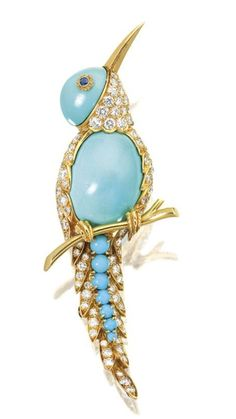 Turquoise and Diamond 'Bird' Brooch, VAN CLEEF & ARPELS Modelled as a bird perching on a branch, the body, head and feather set with oval and round cabochon Turquoise, embellished by circular-cut Diamonds together weighing approximately 2.30 carats, accented by Sapphire-set eyes, mounted in 18 karat yellow Gold, signed and numbered 33384. •Lot Sold: 45,160. USD