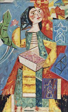 Ľudovít Fulla: Kvetinárka:1970 Illustrator, Mountain, Celebrity, Texture, Artist, Cute, Painting, Inspiration, Surface Finish
